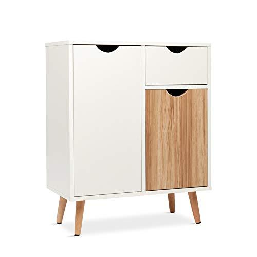 Meerveil Kommode, Sideboard Highboard Anrichte Holz mit 1 Schubladen 2 Türen für Wohnzimmer Schlafzimmer Flur Weiß und Natur 60 x 30 x 73 cm