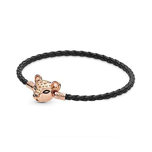 Bracelet Moments Seashell & Lioness Broche de cuero negro turquesa ajuste moda pulsera de plata de ley 925 Charm DIY Jewelry-2-17cm