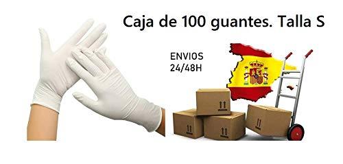 Guantes de látex en color blanco.Talla S. Caja de 100 unidades. PRO ELITE.