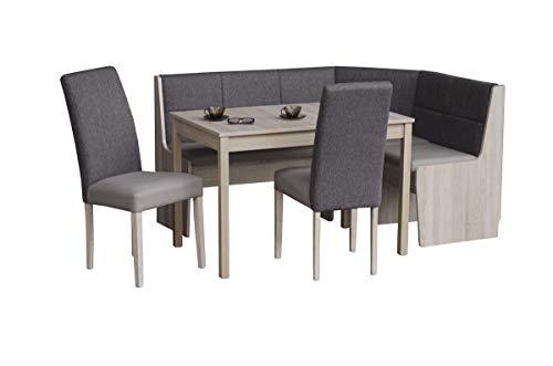 LaNatura Eckbankgruppe Katrin in Eiche Sonoma teilmassiv mit Eckbank Tisch 2 Stühle