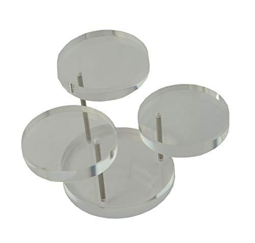 Soporte de anillo de acrílico universal para 3 podios de oro rosa con piedra natal (transparente, número de soportes 1)