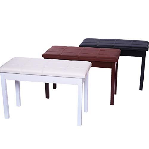 Keyboardbank Klavierhocker Doppel Klavier Universal-Holz-Piano Hocker mit Bücherregal PU Hocker Massivholz-Piano Hocker Duet Piano Hocker ( Color : Champagne Brown , Size : 75x37x48cm )