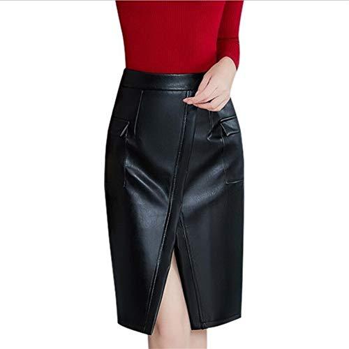 ERLIZHINIAN Schwarz Lederrock-Frauen Plus Größen Midi PU-Bleistiftrock-Frauen hoher Taillen-Büro Lederrock knielangen weiblich (Color : Black, Size : XXL)