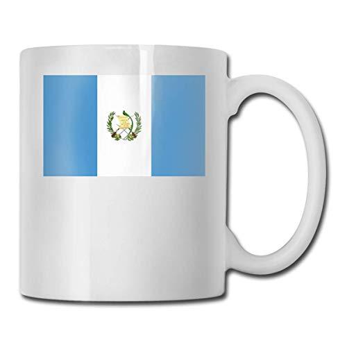 Daawqee Tazas Coffee Mug Flag of Guatemala Mug Funny Ceramic Cup for Coffee and Tea with Handle, White