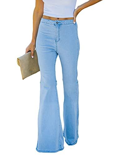 Sidefeel Womens High Waist Bell Bottom Jeans Zipper Fly Flared Denim Pants with Pockets