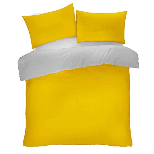 HX9 Ochre Duvet Cover - Soft Comfortable Durable 3 Piece Reversible Bedding Set (Ochre/Grey, King)