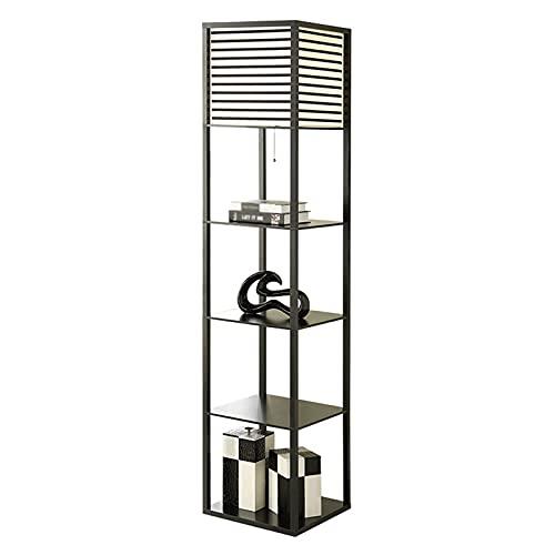 Indoor Nieuwe Chinese stijl LED-vloerlamp Woonkamer Slaapkamer Studie Corner Stand Lamp 4-Layer Opslag Plank Verticale…