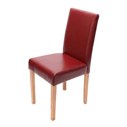 Mendler Esszimmerstuhl Littau, Küchenstuhl Stuhl, Kunstleder - rot, helle Beine