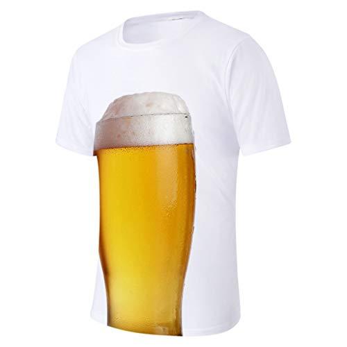 Xmiral T-Shirt Bier 3D Gedruckte Rundkragen Kurzarm/Bluse Tops für Oktoberfest Tanktop Kurzarmshirt Oberteile(a Weiß,XL)