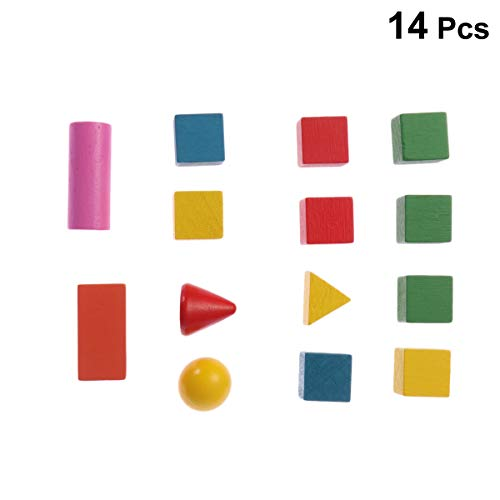 Toyvian Mini Geometric Solids Multicolored 3D Shapes Math Manipulative and Geometry for Kids 14pcs