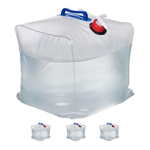 Relaxdays Wasserkanister 4er Set, 20 L, faltbar, Zapfhahn, Griffe, Camping Kanister, BPA-freier Kunststoff, transparent
