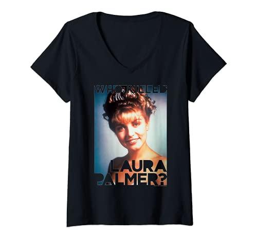 Mujer Twin Peaks Laura Palmer Portrait Text Camiseta Cuello V