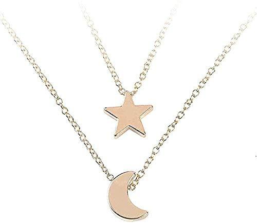 FACAIBA Necklace Necklace Women S Jewelry Pentagram Moon Pendant & Necklace Chain Women Multi-Layer Pendant Chain Necklace Jewelry