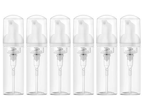 6 Pièces 60ml Flacon Pompe Mousse à Savon Liquide Distributeur, Bouteille de Shampoing Vide Plastique, Foamer (Transparent)