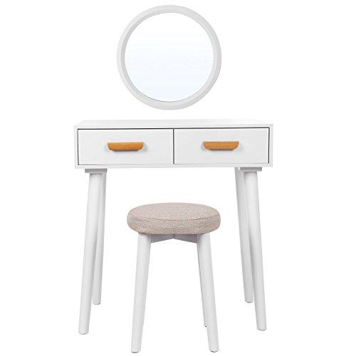 Songmics RDT40WT Moderne kaptafel met wandspiegel, kruk en 2 laden, van MDF-plaat en hout, voor slaapkamer, kleedkamer, wit