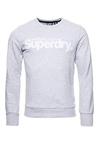Superdry Herren Core Loopback-Sweatshirt mit Logo aus Wildlederimitat Kollektiv Hell Meliert XL