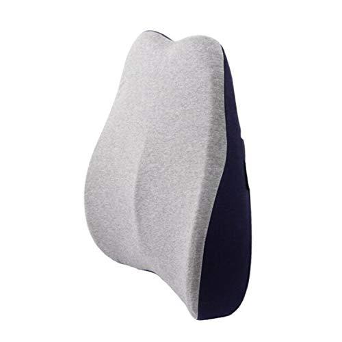 Qingzhuan 2 Piezas Cojín de Apoyo Lumbar para la Espalda Fundas Lavables de Espuma Viscoelástica Cojines de Silla Que Previenen el Dolor de Espalda (Azul)