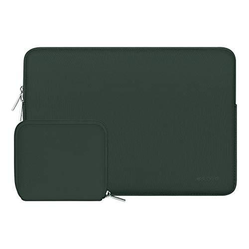 MOSISO Laptop Sleeve Kompatibel mit 15 Zoll MacBook Pro Touch Bar A1990 A1707, ThinkPad X1 Yoga, 14 Dell Acer, 2019 Surface Laptop 3 15, Wasserabweisend Neopren Tasche mit Klein Fall, Mitternacht Grün