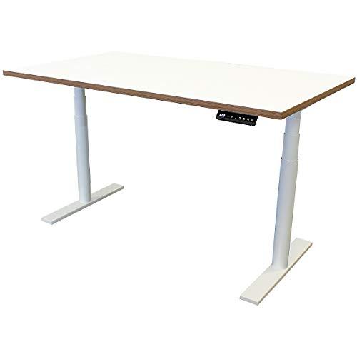 newpo elektrisch höhenverstellbarer Schreibtisch mit Tischplatte | BxT 140 x 80 cm | weiß-braun | Stehtisch Bürotisch Tisch-Gestell