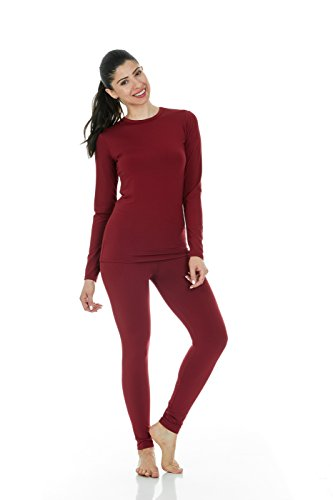 Thermajane Women's Ultra Soft Thermal Underwear Long Johns Set with Fleece Lined (Medium, Red)