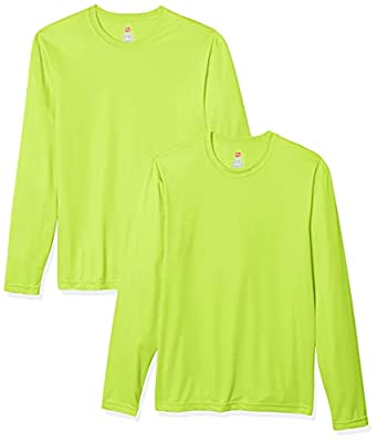 Hanes Men's Long Sleeve Cool Dri T-Shirt UPF 50+, XX-Large, 2 Pack ,Safety Green