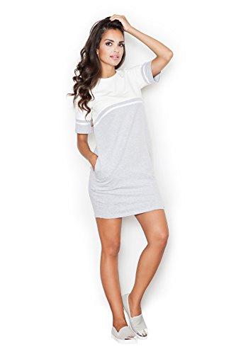 Figl Geschmackvolles Kleid mit etwas sportlichem Pfiff, Größe 42, Grau-Ecru