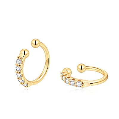 Hoop Earrings,14K Gold Plated Cartilage Hole Hinged Huggie Stud with CZ Cubic Zirconia Earrings For Women Girls