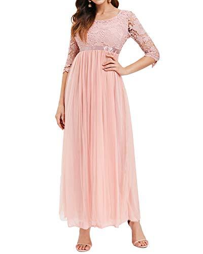 Auxo Damen Kleider Lang Abendkleid Elegant Spitze Chiffon Festlich Brautjungfernkleid Ballkleid Rosa Large