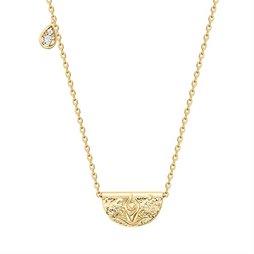 PAVOI 14K Yellow Gold Plated Engraved Coin Pendant   Byzantine Coin Necklace   Bohemian Necklace   Hammered Lotus Pendant