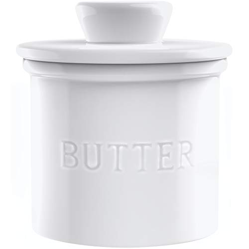 PriorityChef French Butter Crock for Counter, Butter Keeper With Water Line for Fresh Spreadable Butter, Farmhouse Style Ceramic Butter Keeper for Countertop, Holds 1 Stick, White