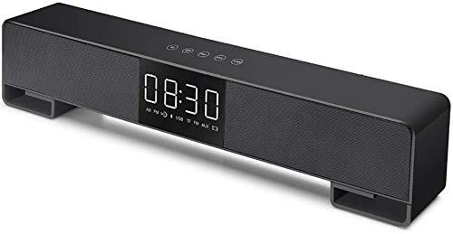 HAOHAO Control de Bluetooth Altavoz táctil Digital de Alarma Reloj con Radio Am/PM AUX/TF/USB Pantalla/reproducción de FM/Bluetooth FM Radio, Altavoces de Audio Weckeren, Gris,Negro