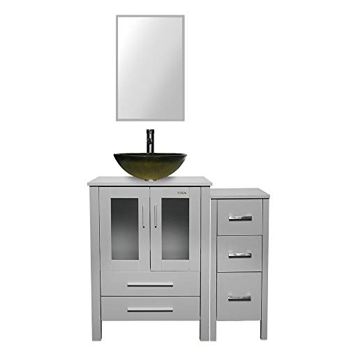 """eclife 36"""" Bathroom Vanity Sink Combo Grey W/Side Cabinet Vanity Round Tempered Glass Vessel Sink and ORB Solid Brass Faucet and Pop Up Drain, W/Mirror (Green)"""