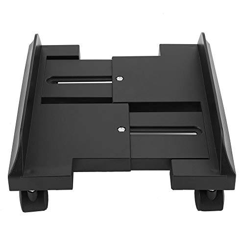 Hongzer Computerturm Standboden verstellbar, Computergehäuse Standhalter Halterung Desktop Mainframe Lagerregal mit Bremse, Computerwagen(schwarz)