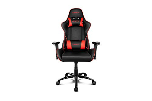 Drift DR125 DR125BR-Silla Gaming, Poilipiel, Ergonómica, Color Negro/Rojo, Polipiel Alta Calidad, Profesional, Respaldo Reclinable, Altura Regulable, Reposabrazos Ajustables