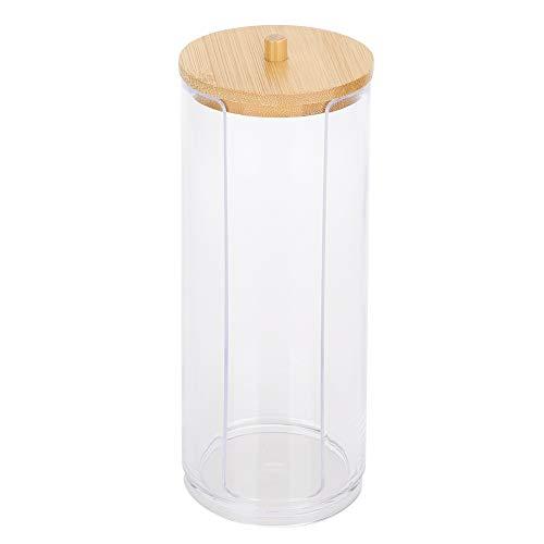 Hineges Botellas de Condimento de Especias Caja de Almacenamiento de Hisopos de Algodón Transparente en Forma de Cilindro Pequeño con Tapa de Bambú para Contenedores de Cocina Domésticos