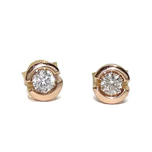 Preciosos pendientes de oro rosa de 18k con diamantes auténticos de 0.34cts cierre presión. Ideal mujer y novias.