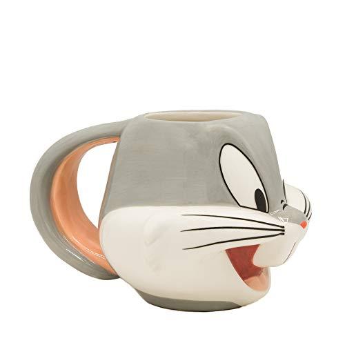 Silver Buffalo Looney Tunes Bugs Face 3D Sculpted Ceramic Mug, 22-ounces, Gray/White