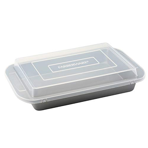 Farberware 52181 Nonstick Bakeware  Baking Pan With Lid / Nonstick Cake Pan With Lid, Rectangle - 9 Inch x 13 Inch, Gray