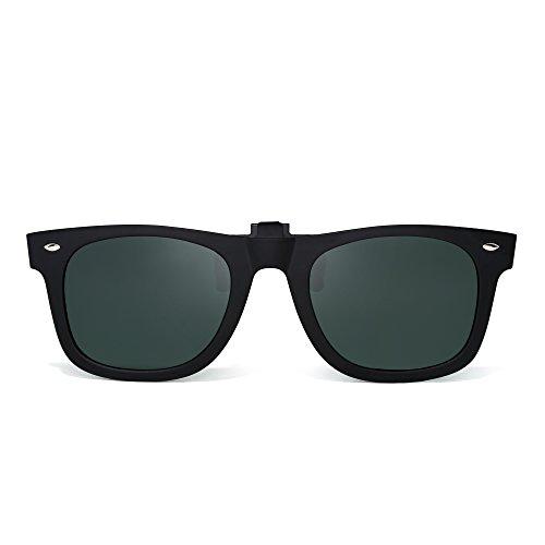 Polarizadas Clip en Gafas de Sol Flip up Anteojos de Espejo Hombre Mujer(Negro Mate/Verde Polarizado)
