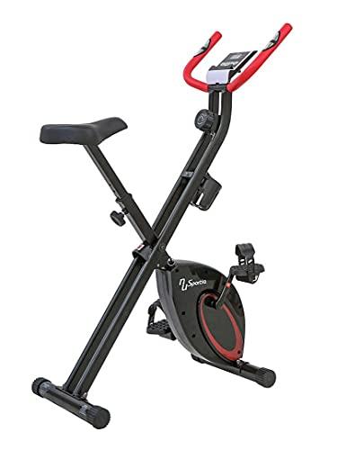 Sportia NS-652-VK1 - Bicicleta estática de fitness, color negro y rojo