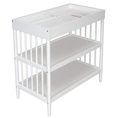 Dream On Me Sleepy Little Sloth, Moon Bear Reaching for The Stars & Clover Changing Table with Rounded Spindles in White