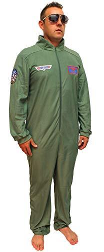 Top Gun Kostüm für Erwachsene Maverick Flight Suit Herren Union Suit - Grün - Medium