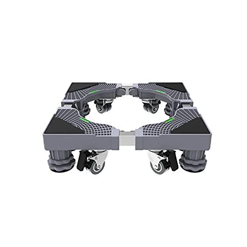 YiHYSj Base Lavadora Soporte Ajustable de 42-68cm con 4 Ruedas Giratorias Dobles Mueble lavavajillas Universal Base Altura 10-12cm Móvil Nevera y Aire Acondicionado Soporte Base (4 Legs 4 Wheels)