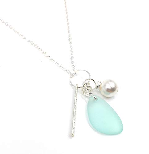 Popular Sea Foam Green Sea Glass Charm Necklace with Solid Sterling Silver Bar Charm, and Swarovski Crystal Pearl Charm, Perfect Gift, Handmade by Aimee Tresor Jewelry