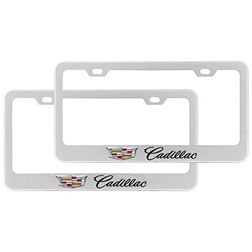 Deselen - EBS-BT12 - Stainless Steel License Plate Frame with Screw Caps Cover Set for Cadillac, Silvery White/Chrome (2 Pieces)