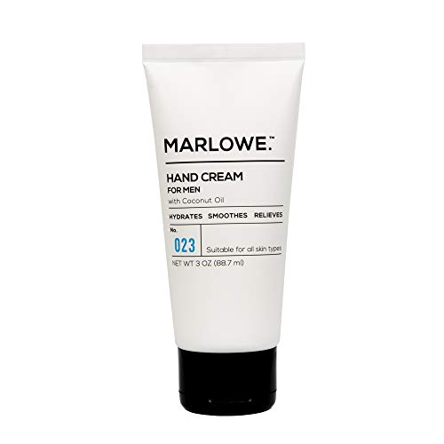 MARLOWE. No. 023 Hand Cream for Men 3oz | Dry, Chapped Skin Relief with Coconut Oil, Mineral Oil, Aloe, Shea Butter, Oat Natural Extracts | Daily Hand Lotion for Men or Women