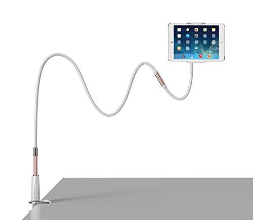 Halterung für Handys und Tablet,Foraco Flexibel und Verstellbar Schwanenhals Metall Ständer für 4-14 Zoll, iPhone, Android Smartphone, Klammer für MAX. 115CM-(Rose Gold)