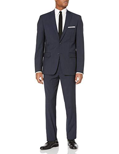 DKNY Navy Stripe Wool Slim Fit Suit