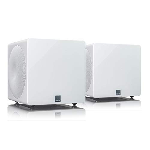 SVS 3000 Micro Subwoofer (Piano Gloss White, Pair) | Active Dual 8-in...