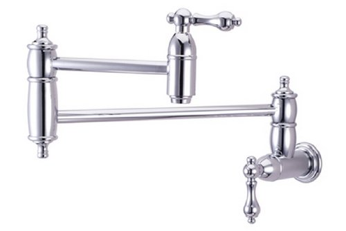 Kingston Brass KS3101AL Pot Filler, Metal Lever Handle, Polished Chrome,8-1/8-Inch Spout Height